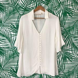 Soft Surroundings White Feminine Chouteau Top L